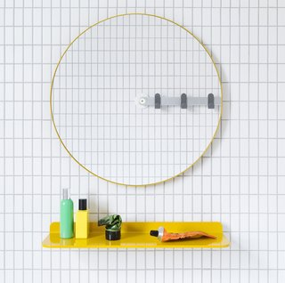 Not only is it irresistibly cute, Sabi's mirror is also designed for universal use. Installation is a breeze: Punch out the to-scale template from the packaging and hang it with the included adhesive or easy-mount screw. Mirror ($160) and shelf ($80-$110) at sabi.com.