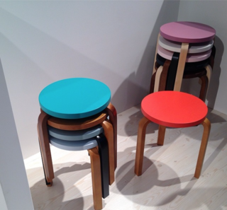 """[Artek's] Aalto stools in their springtime outfits."""