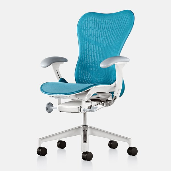 """It's crucial to think about seat pan depth—especially if you're short,"" Burn says. ""Look for at least two inches of clearance behind the back of knee when you're sitting in the chair."" Mirra 2 chair by Studio 7.5 for Herman Miller, from $649."