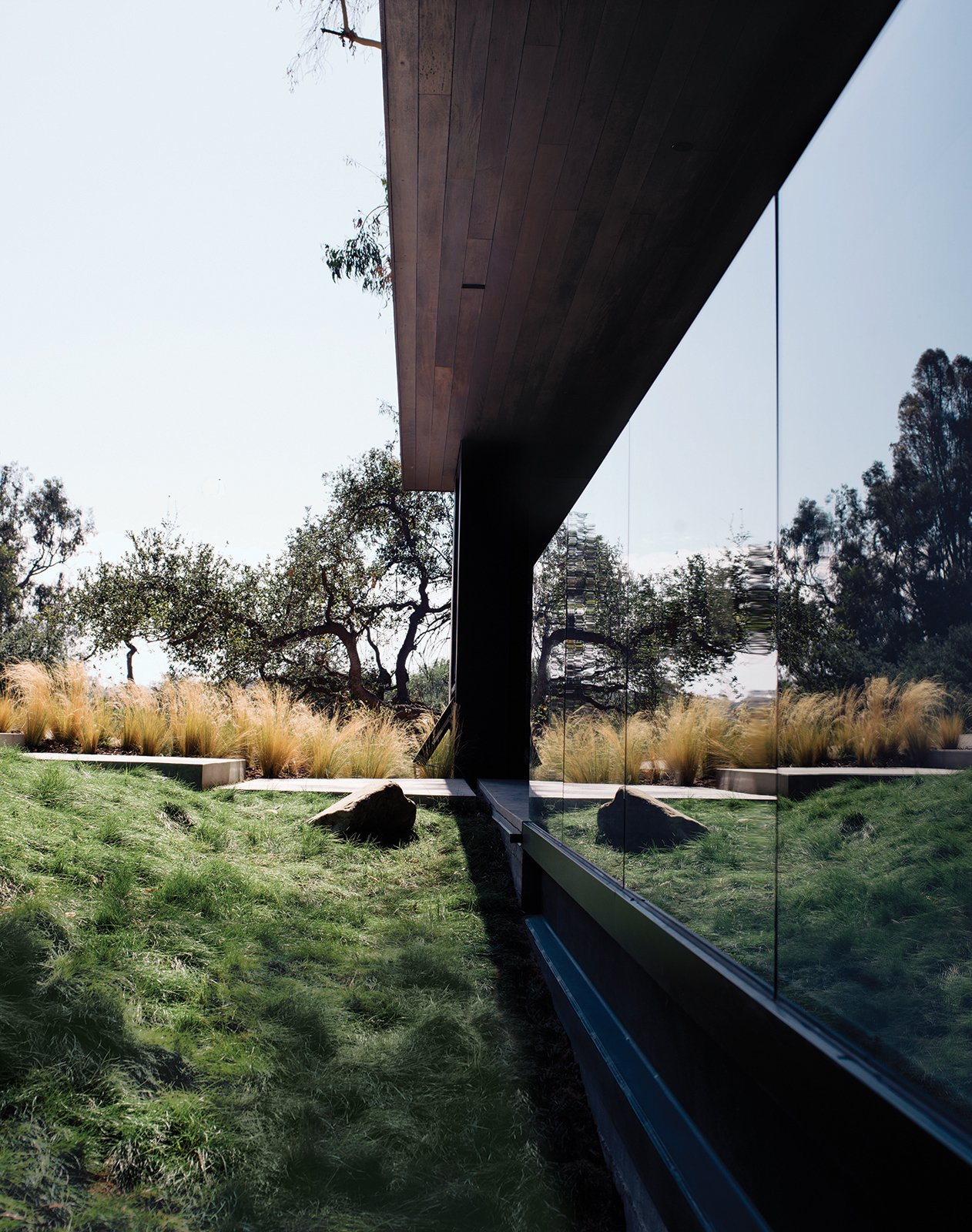 Outdoor Walker left the site in its natural state, but added grasses along the path to the entrance. For more ways to use grass in your home.  20 Homes with Inspiring use of Glass by Diana Budds from Modern Home Designed for Live Music in Beverly Hills