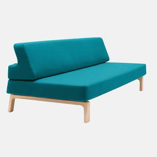 Lazy sofa bed by Andreas Lund for Softline, $2,886–$4,636.  This isn't your standard pull-out sofa; pushing the backrest down creates a flat sleeping surface. Available in hundreds of fabric and color combinations.