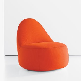 Mitt chair by Claudia & Harry Washington for Bernhardt Design, $2,100.  Inspired by a baseball glove's shape and stitching detail, the versatile upholstered lounge chair features soft, rounded edges—a boon for families with young children.