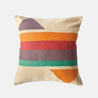 Bar Technicolor pillow by Leah Singh, $120.  Bands of vibrant wool embroidery adorn the cotton throw pillow made in India.