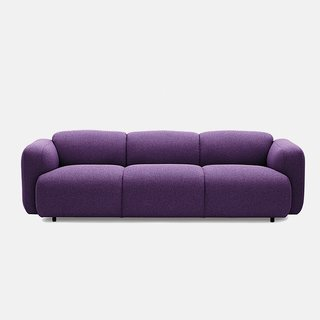 Swell sofa by Jonas Wagell for Normann Copenhagen, $3,850.  Available in 21 hues spanning lemon yellow to rich purple, Swell now comes in two- and three-seat models.