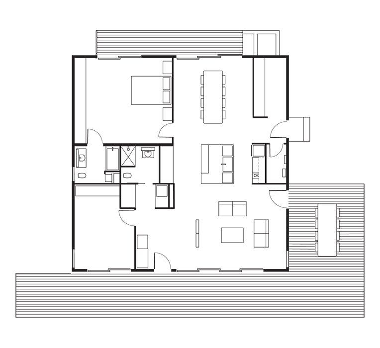 Connect 5 House Floor Plan: A Kitchen / B Dining Room / C Living Room / D Master Bedroom / E Bathroom / F Bedroom / G Utility Room / H Deck.  Photo 9 of 9 in This Northern California Prefab Gets a Dose of Universal Design