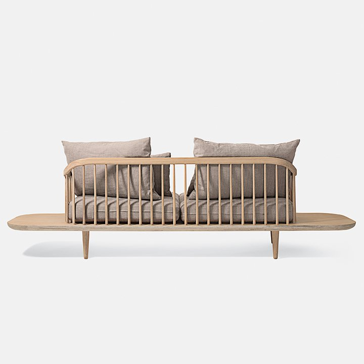 """Fly sofa SC3 by Space Copenhagen for &Tradition. Movable cushions make it easy to get comfortable on this dowel-backed looker. Choose from white oiled oak or a darker smoked-wood version. Picture courtesy of &tradition.  Search """"where pigs fly"""" from Framed Sofas and Armchairs"""