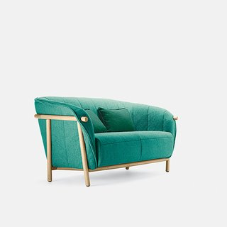 Yas by Samuel Accoceberry for Bosc. Historically, stilt walking was a common way to move through wet terrain in the Gascony region of southwestern France. Bosc, a local furniture maker, uses this reference for its eiderdown-filled sofa. Picture courtesy of Bosc.