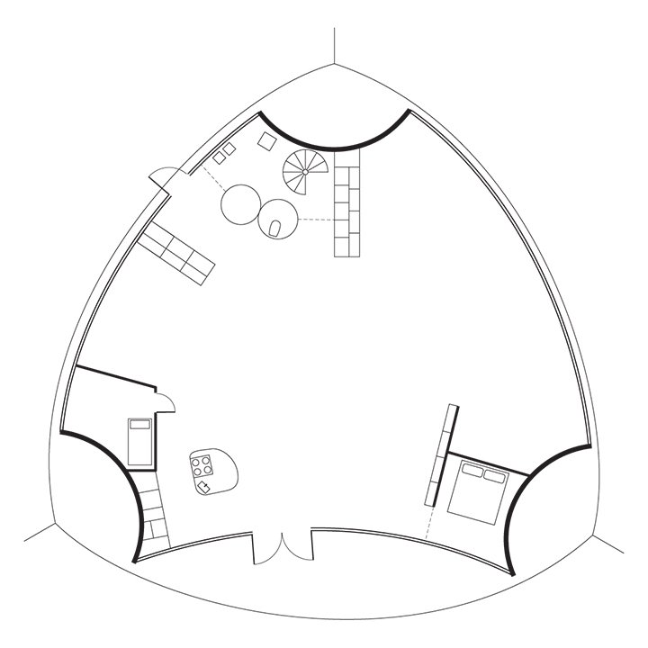 Kukkapuro Studio Floor Plan  A Entry / B Bathroom / C Kitchen / D Studio / E Sitting Area / F Bedroom  Photo 7 of 7 in Modern Studio of a Finnish Design Legend