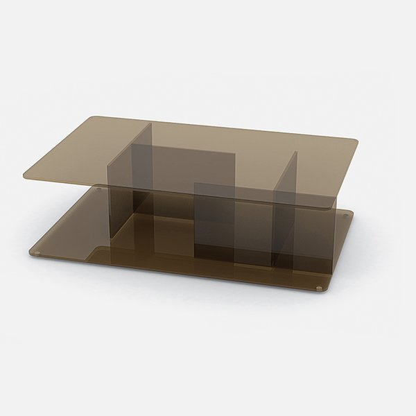 Lucent coffee table by Matthew Hilton for Case. Bronze glass panels joined at right angles create cubbies for storing books and magazines.