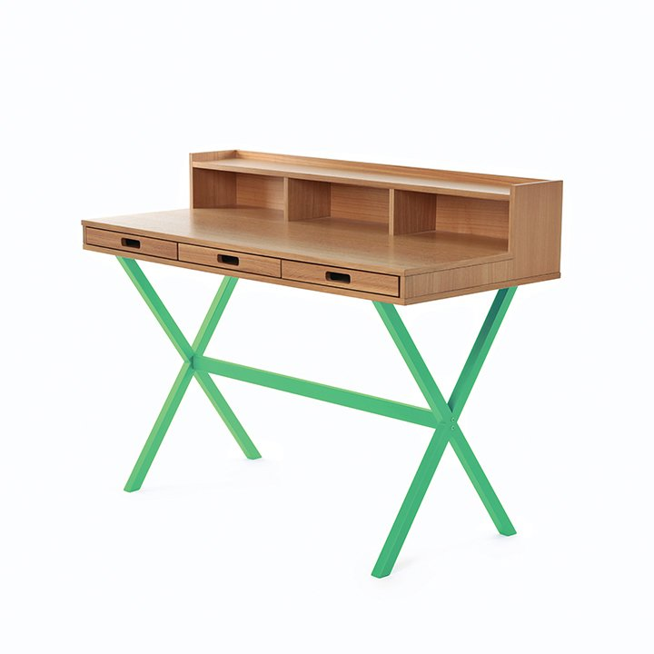 """Hyppolite desk by Florence Watine for Hartô. The petite secretary desk can fit in even the smallest home office; its powder-coated legs are available in eight colors.  Search """"furniture & products"""" from Clever Designs for the Home Office"""