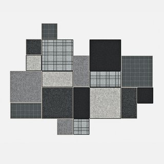 BuzziPatch by Sas Adriaenssens for BuzziSpace. Patchwork rug tiles that attach to one another with leather straps are available in four color sets.