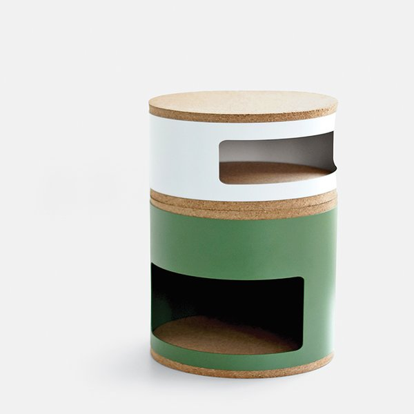 Kork by Twodesigners for Linadura. Lightweight but heavy duty, these modular storage compartments—evocative of Kartell's Componibili—connect via layers of recycled cork.