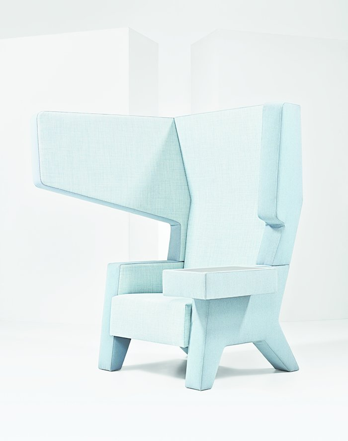 The extended wings of Studio Makkink & Bey's Ear chair for Prooff provides visual and aural privacy in the workplace.  Photo 1 of 3 in A Dutch Duo Crafts Contemporary, Efficient Office Furniture
