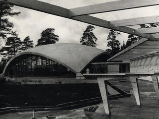 "Restaurant ""Sēnīte""   Architect—Linards Skuja; engineers—Andris Bite, G. Grīnbergs, R. Ozoliņš. Built in 1967 on Vidzeme highway.   Photo courtesy The Museum of Architecture of Latvia"