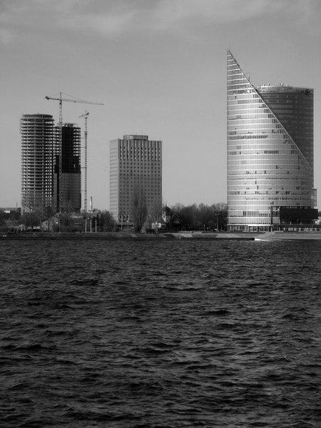 Riga High-Rises  Z-Towers (NRJA, 2004-2015); Preses nams (Jānis Vilciņš, Ābrams Misulovins, 1978); Saules akmens (ZENICO PROJEKTS, TECTUM, 2002-2004).  Photo by: Uldis Lukševics, NRJA