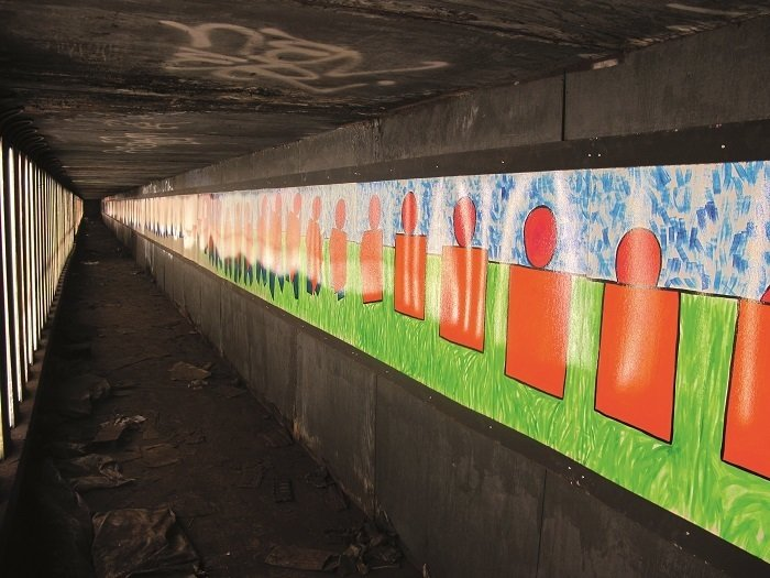 Masstransiscope—a 228-panel installation by artist Bill Brand—can be viewed from trains headed towards the Manhattan Bridge. It was installed in 1980 and sanctioned by the MTA. Photo courtesy Matt Litwack.  Photo 3 of 10 in Beneath the Streets: Photos of New York's Secret Underground