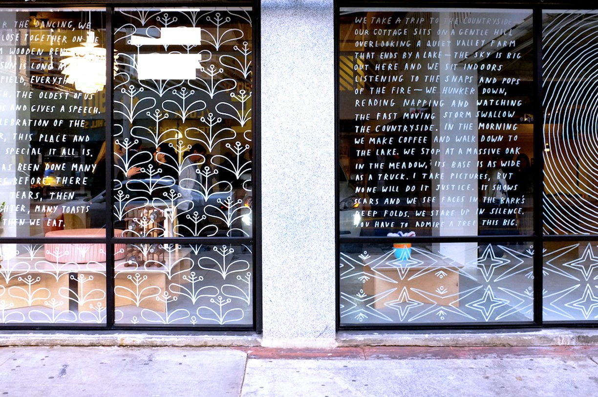 Excerpts from the journal artist Brian Rea wrote in while he was traveling in Sweden adorn the storefront's glass.  Photos from Shops We Love: Austere, Los Angeles
