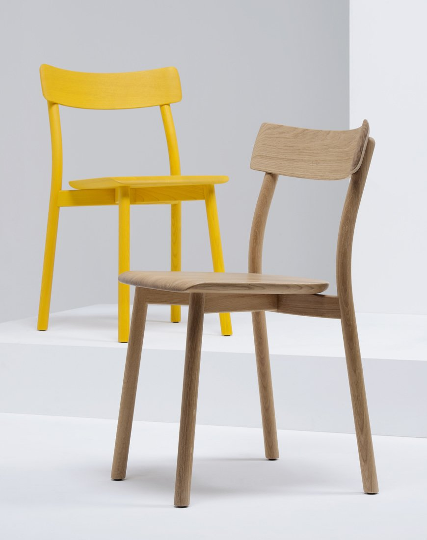 The chairs are available naturally finished in oak and in ash, as well as in white, gray, red, blue, yellow, and black stained ash.  Photo 4 of 5 in Chiaro Chair by Leon Ransmeier for Mattiazzi
