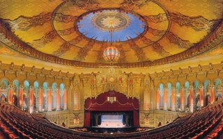 The 5,174-seat Detroit Fox Theatre was the largest of the Fox Theatres. With its unique mix of Egyptian, Far Eastern, and Indian styles, it was a movie palace exotique. Its featured two organs made it a favorite destination for thirty-five cent talkies, vaudeville, and organ concerts. The structure has weathered time and been faithfully restored. Photo by Christian Dionne.