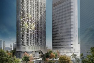 """""""The design for the Hanwha HQ media facade aims to avoid an overstated impact,"""" says UNStudio founder Ben Van Berkel. """"In the evenings, as the mass of the building becomes less apparent, the facade lighting integrates with the night sky, displaying gently shifting constellations of light."""""""