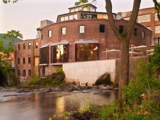 McAlpine, whose construction company had created high-end hotels for clients for decades, bought the former factory, with its dramatic but dilapidated curved walls, in 2010 and recruited two of his children and their spouses to run it. The buildings were painstakingly restored with the help of local architect Aryeh Seigel. The Rockwell Group—fans of Beacon and colleagues of Mr. McAlpine's on past projects—created designs for the interiors, executed by local designer Elizabeth Strianese and featuring the work of many local artists and artisans. Photo by Eric Laignel.