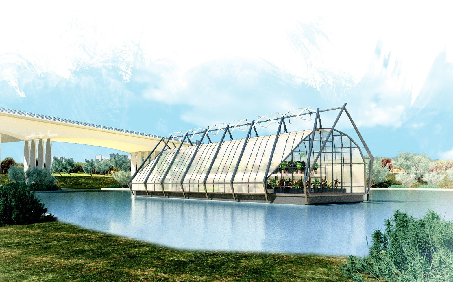 "The notion that form and image can enhance conservation, comfort, and community at every scale of design informs The Looper, an idea for a river barge repurposed as a water-filtering greenhouse, by Dwell on Design presenter Lance Hosey's firm RTKL. The design was an entry in the 2013 snoLEAF greenhouse ideas competition.  Search ""great idea"" from Green Design at Dwell on Design"