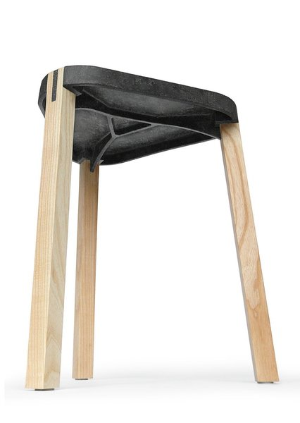 Onstage, Design Prize Switzerland representatives Michel Charlot, Beat Karrer (of FluidSolids), and Rolf Senti (of Bagno Sasso Mobili/Swiss Eco Tap) will explain their surprising concepts and how good design can benefit our environment. Pictured, a FluidSolids stool.