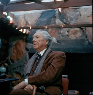 Frank Lloyd Wright at his office in Taliesin West in 1955, where the art show will be held.
