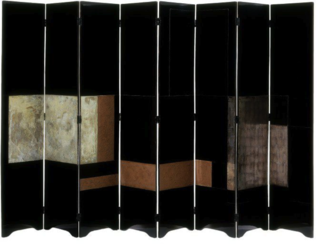 Gray studied the craft of lacquer work under the Japanese master Seizo Sugawara. Although she drew directly from the technique, she incorporated distinctly modern elements into this 1928 screen's design, decorating the sleek piece with geometric designs against a stark black background.