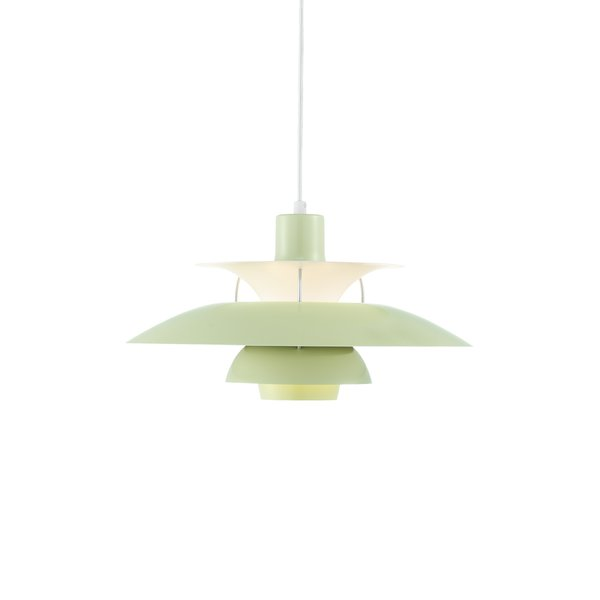 The PH 50 Pendant was released in 2008 as a high-gloss version of the PH 5 pendant that was originally designed in 1958 to celebrate the 50th anniversary of the milestone pendant lamp. Providing 100% glare-free light, the pendant is designed with a reflective three-shade system that directs the majority of light downward, while illuminating itself with lateral light.
