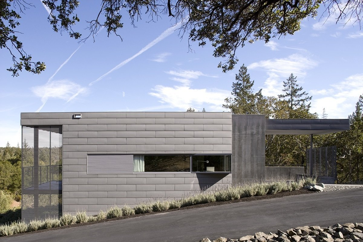 To create a house that is at one with the landscape, the architects embedded it directly into the hillside—a gesture that helps with insulation.  A Small, Off-the-Grid Escape in a Sonoma Olive Grove by Tiffany Jow