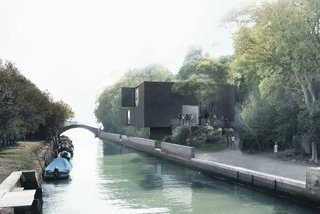To create visual tension as well as to provide a covered space for outdoor evens, the building cantilevers right to the canal's edge. Image courtesy Denton, Corker, and Marshall.