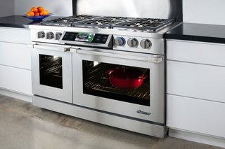 Dacor products suit tech-savvy home cooks. The Discovery Dual Range oven wirelessly connects to a tablet via the brand's iQ app for a customizable kitchen experience.