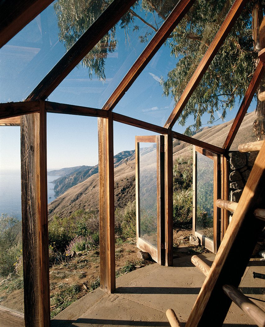 Outdoor, Small Patio, Porch, Deck, and Concrete Patio, Porch, Deck Muennig's Green House utilizes the western sun of the dramatic Big Sur coastline.  Views from Big Sur: Coastal Commissions