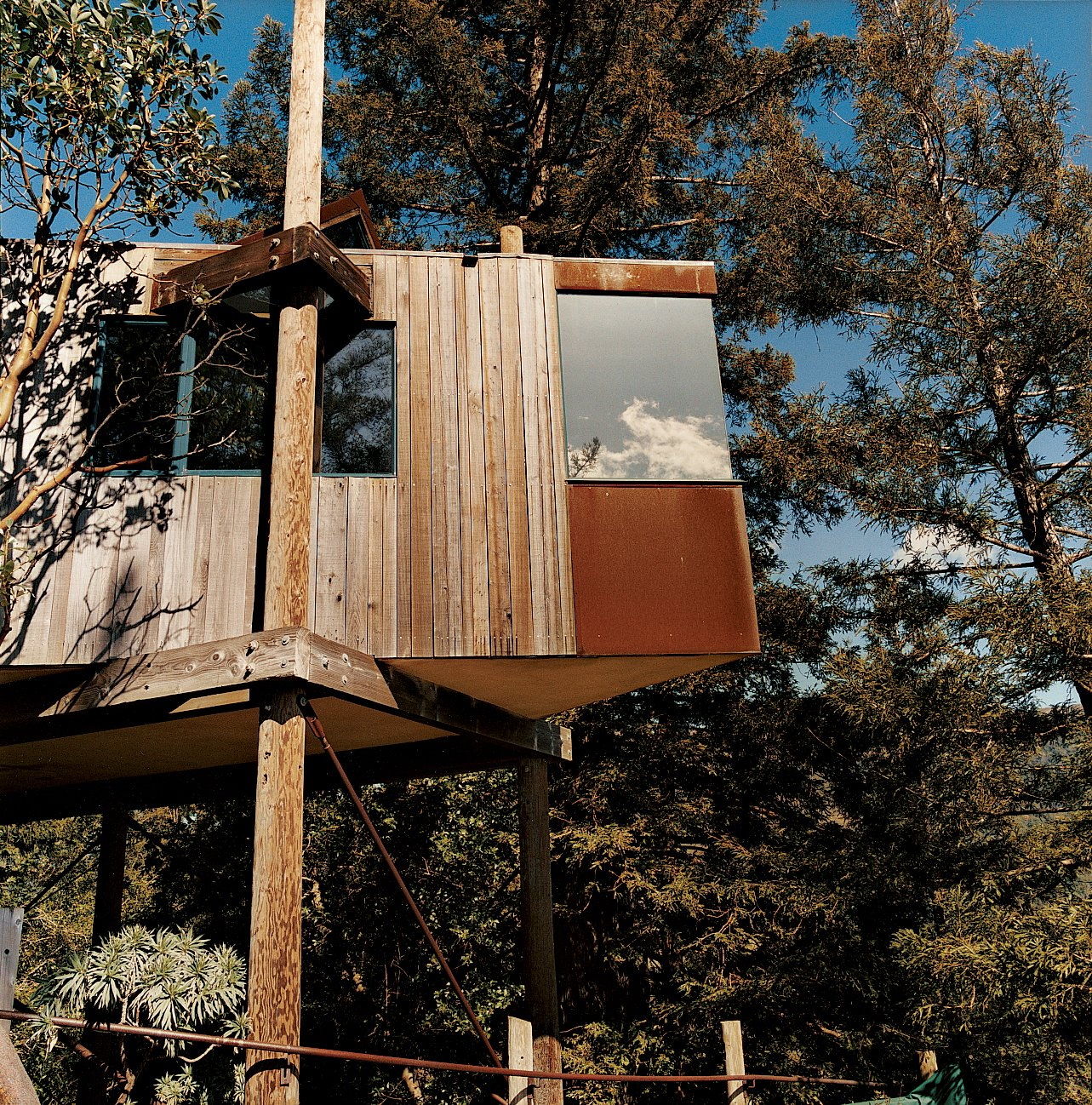 tree house with square angle exterior  and flat roofline