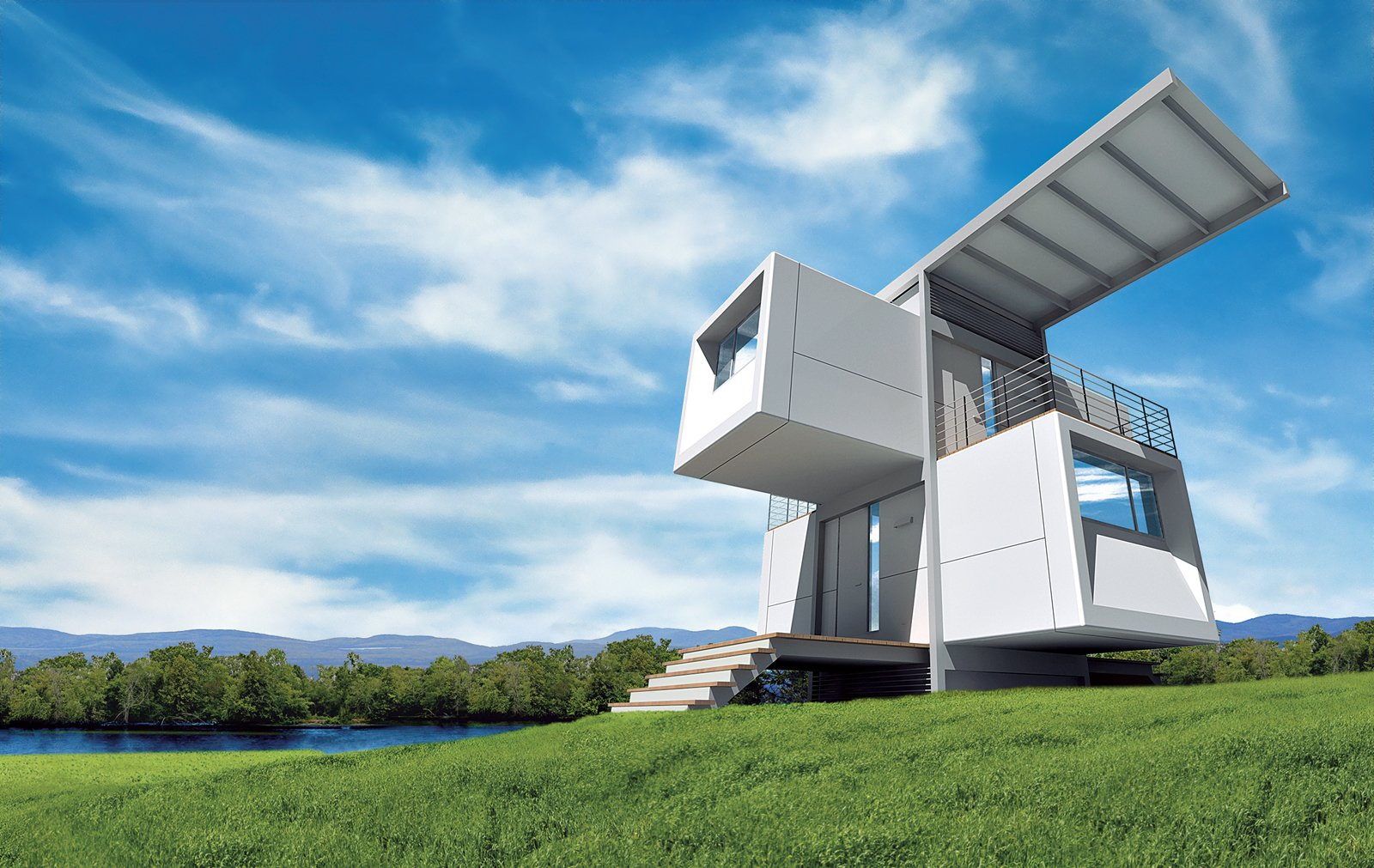 In the rendering for the zeroHouse, the building appears to be both a harmonious addition to the landscape and a harbinger of future architectural forms.  Prefab