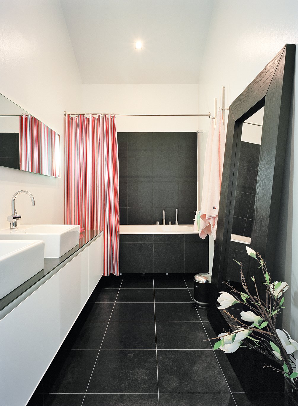 Bath, Vessel, Ceiling, Ceramic Tile, Alcove, and Drop In The master bathroom is one of few spaces that lacks windows, but it opens onto the brilliantly daylit master bedroom.  Best Bath Alcove Ceramic Tile Photos from Sum of Its Parts