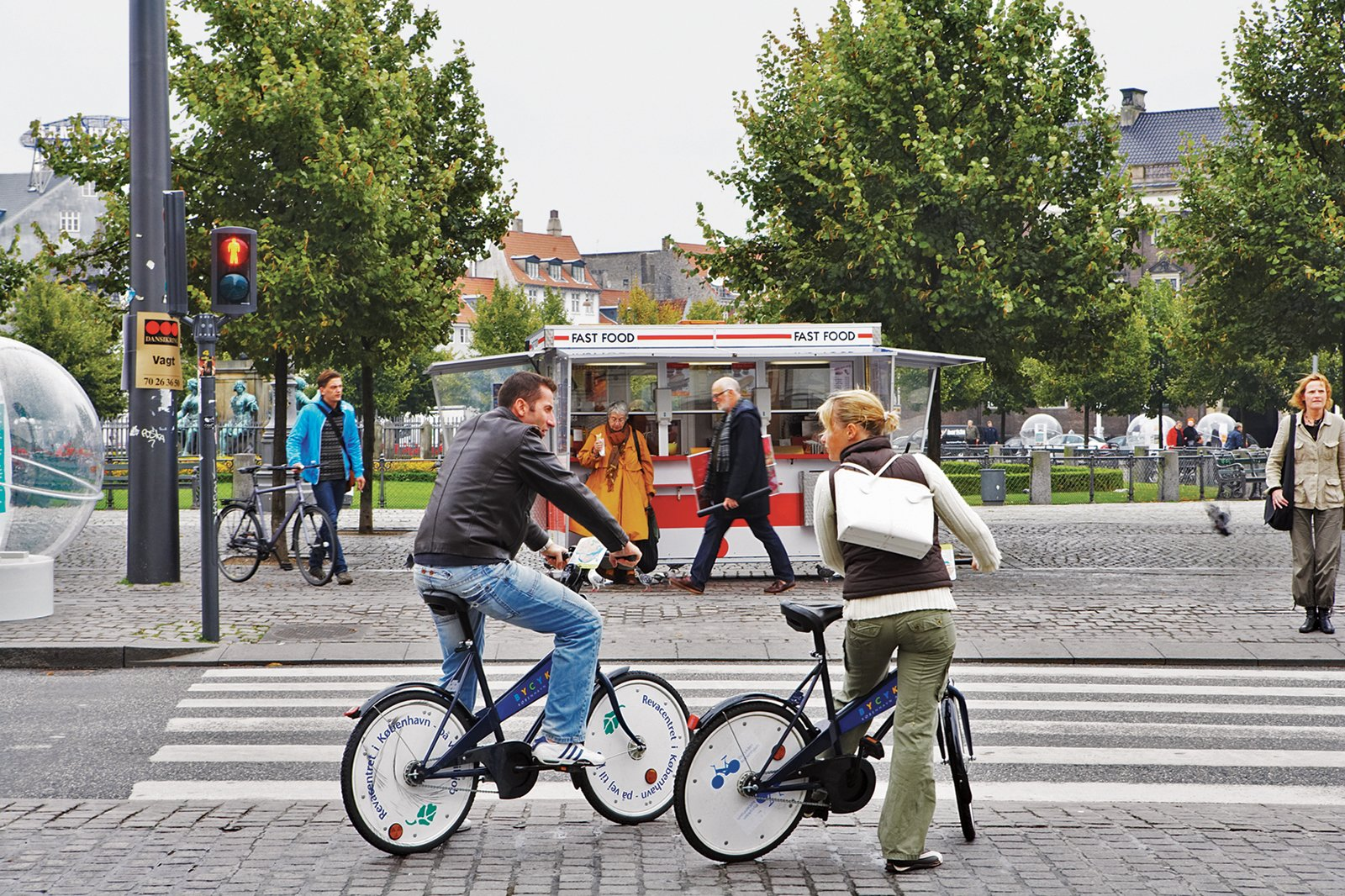 The city makes getting around easy for tourists and residents alike, by providing roughly 2,000 free bicycles, available at stands throughout Copenhagen.  Photo 5 of 10 in Copenhagen, Denmark