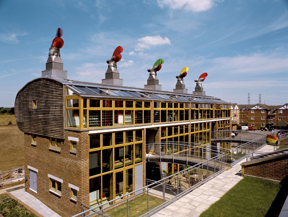 The Beddington Zero Energy Development, or BedZED, by London's Bill Dunster Architects, exceeds Architecture 2030's targets, using solar energy and roof gardens.  Photo 2 of 6 in Ed Mazria