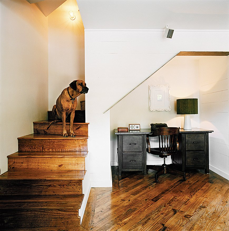 Office and Desk From the stairs West looks across the living room over the salvaged pine floors, which run throughout the house.  Dogs Who Love Modern Design from Salvage Love