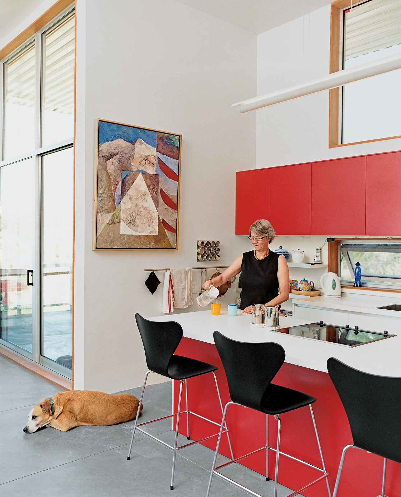 Kitchen, Colorful Cabinet, and Concrete Floor Ginge's penchant for the bright red Varenna cabinets the couple splurged on is matched only by her love of animals; rescue pets are de rigueur around the house.  Best Photos from Abiquiu Debut