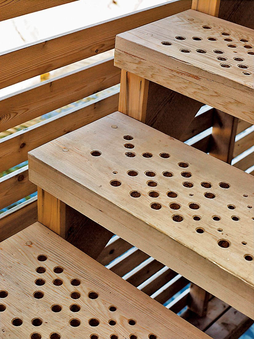 The stairs feature a geometric pattern of holes generated by a software script that allows rain to slip through to the lake below.  DETAILS :: stairs