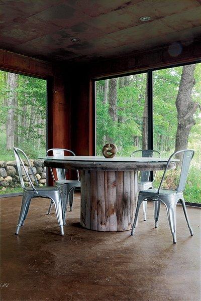 The enclosed porch.