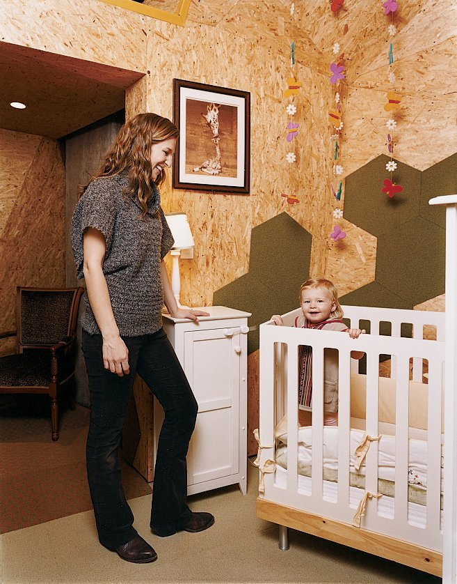 Young parents Ainsley Ryan and Chris Showalter created a freestanding OSB (oriented strand board) structure inside their Brooklyn, New York, apartment to house their daughter Tatum's room, as well as their own connecting master bedroom. The crib is by Oeuf.  Read the whole story here.  Photo 14 of 20 in 20 Cool Cribs for the Modern Baby from Hive Minded