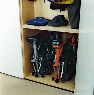 The storage of the bicycles and cycling gear was a major factor in the design of the cupboard space. The floor is plain and simple to clean, which is essential for those wet winter days when they return home from work with muddy wheels and dripping clothing.
