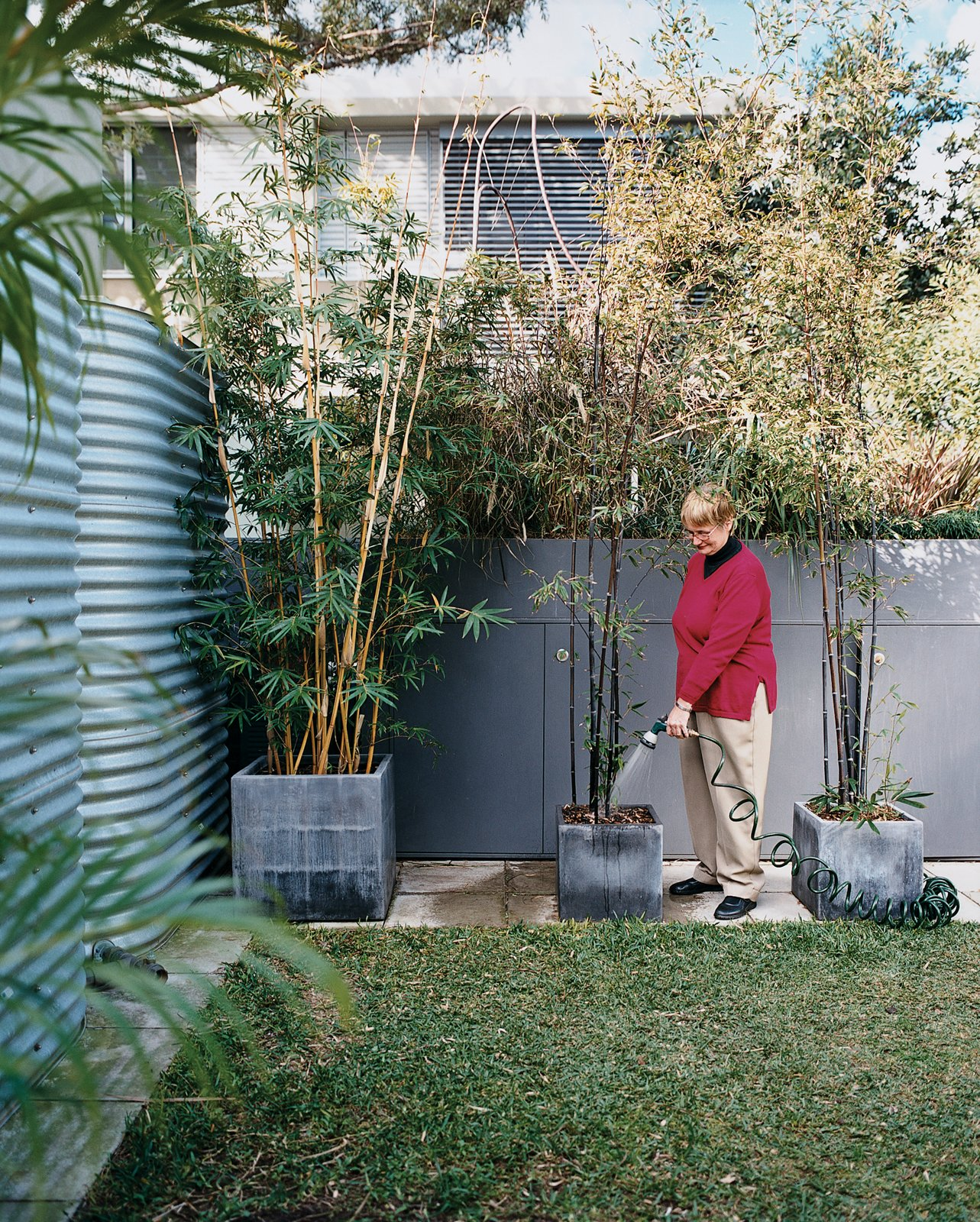 Outdoor, Raised Planters, Grass, Back Yard, Gardens, Garden, and Walkways In the garden, Mary Henning gives her potted plants a much-needed drink of graywater diverted from the kitchen and bathrooms and filtered by a massive green wall.  Photo 5 of 10 in 9 Effective Ways to Bring Sustainable Design Into the Home from The First Wave