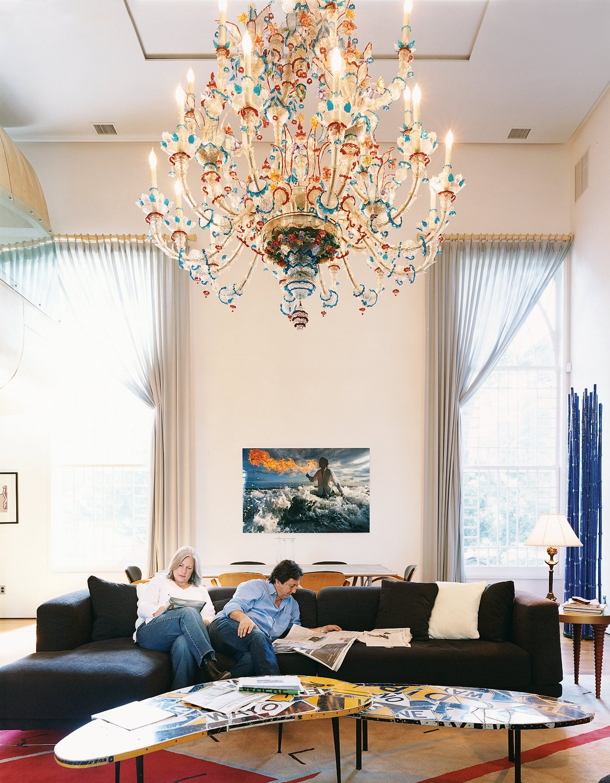 """The Jan Larsen Gallery in Brooklyn's DUMBO neighborhood is a favorite haunt for Bonnie and Santiago. That's where they found the Montauk photograph (""""It's exciting,"""" Santiago says, """"a frozen moment in time"""") and coffee table composed of traffic signs.  Photo 6 of 10 in At Home in a Modern Church"""