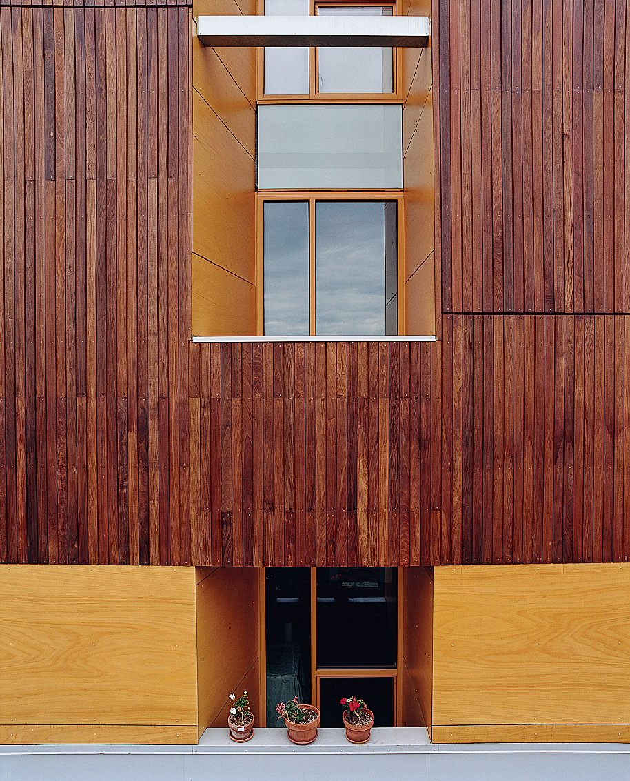 A detail of the building's exterior reveals the texture of the ipe cladding.  Photo 5 of 10 in Community Building