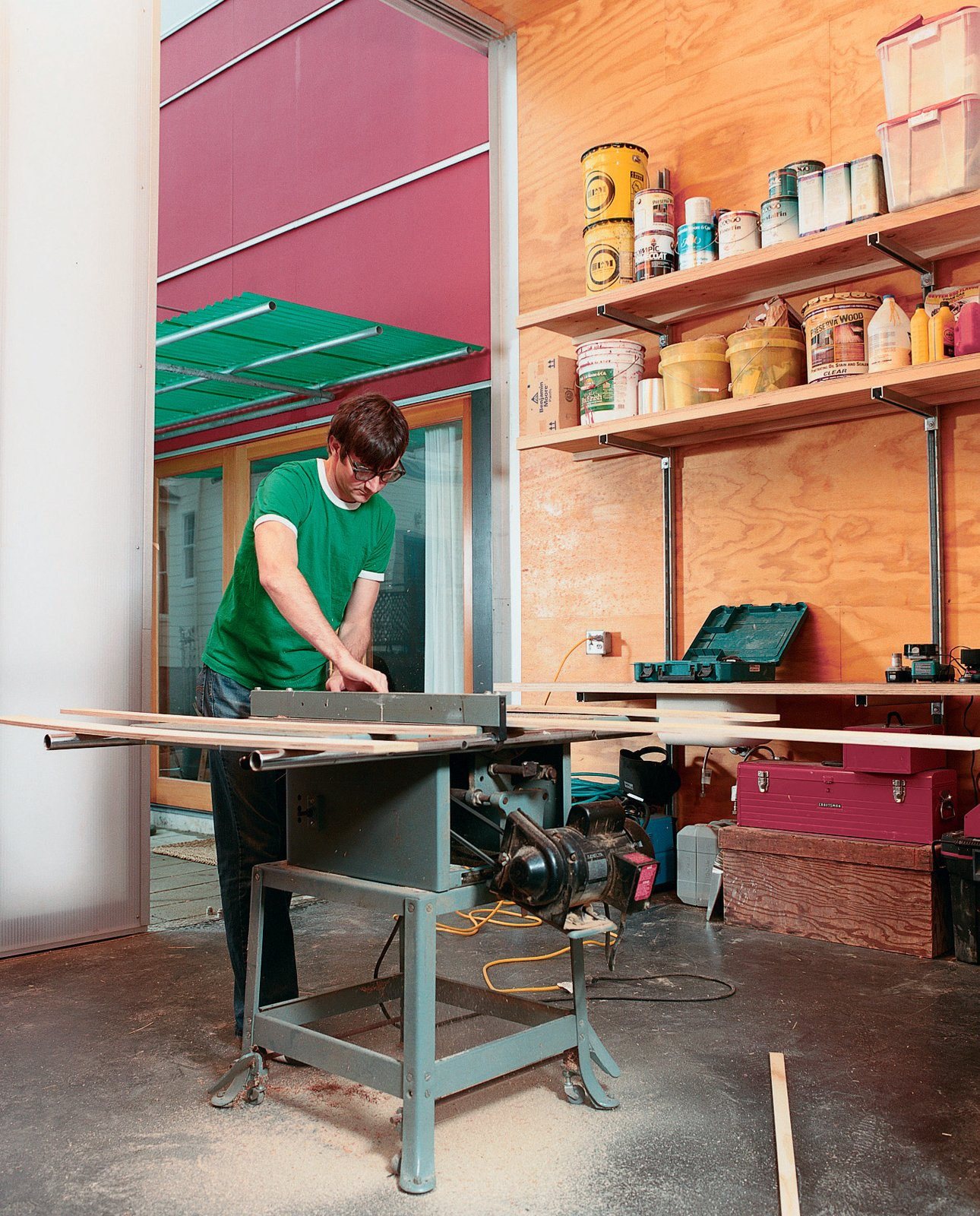 Sarti recently completed the studio addition to his house, giving him another 300 square feet of space. Now, all future home-improvement projects can be completed entirely onsite, though late-night table-saw usage might leave his neighbors sleepless in Seattle.  Photo 3 of 8 in Halving It All