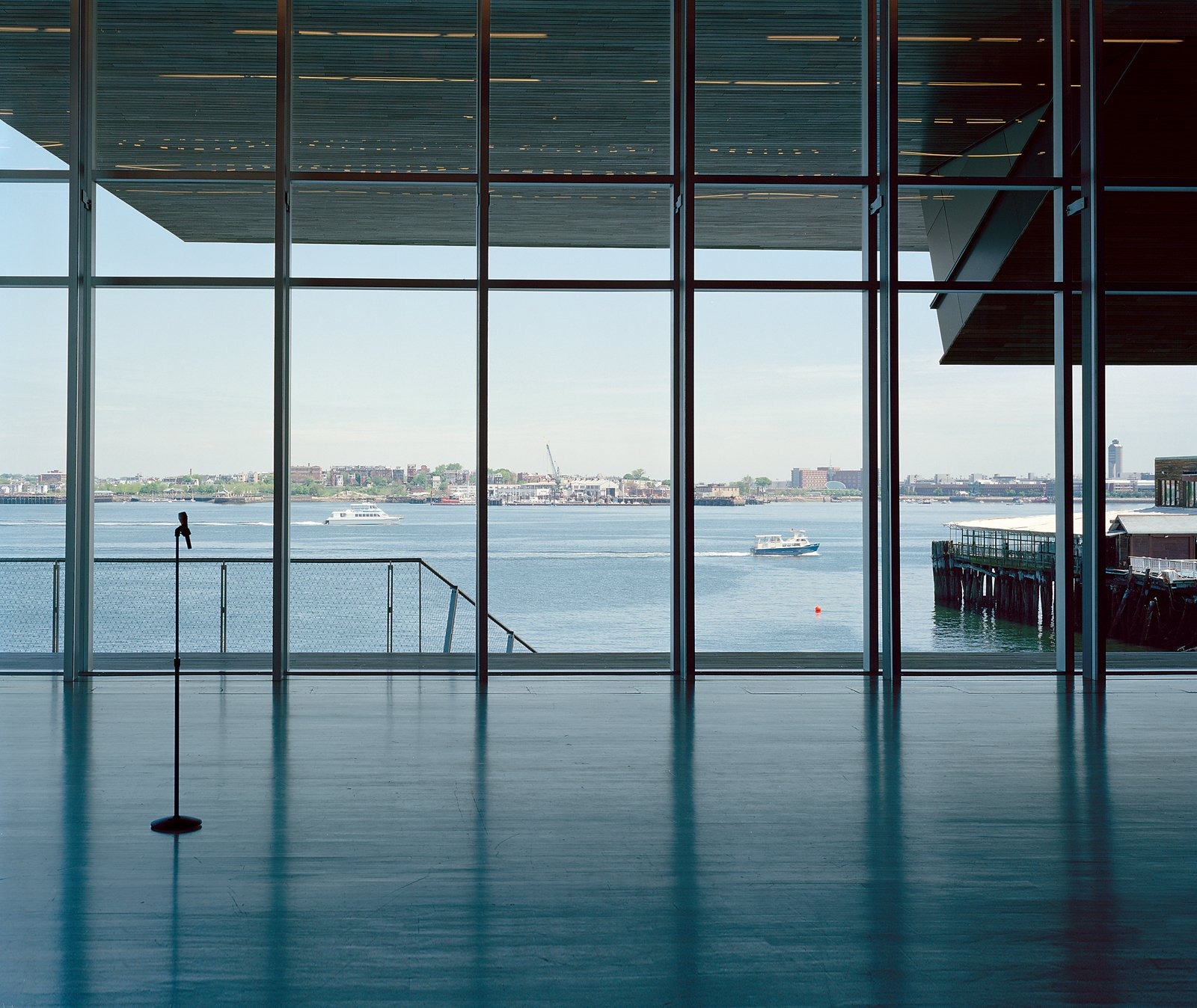 The windows of the ICA's theater offer an expansive view of the harbor and the cantilevered galleries above.  Photo 12 of 12 in Boston Pops